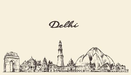 hindu temple: Delhi skyline vector engraved illustration hand drawn