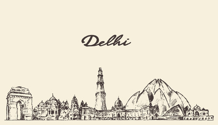 Delhi skyline vector engraved illustration hand drawn