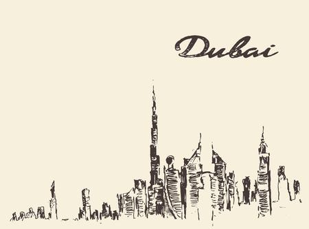 dubai: Dubai City skyline detailed silhouette Hand drawn engraved vector illustration
