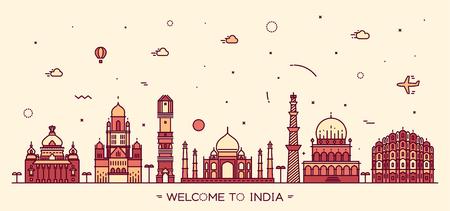mumbai: Indian skyline Bangalore Mumbai Ahmedabad Delhi Hyderabad Jaipur landmarks Trendy vector illustration linear style