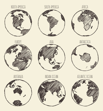 globe hand: Sketch of globe South America North America Africa Europe Asia Antarctica Australia Indian Ocean Atlantic Ocean