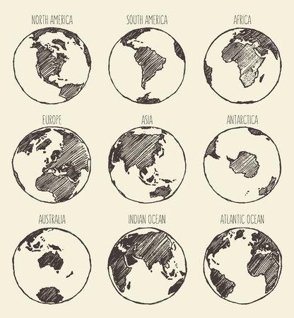 Skizze des Globus Südamerika Nordamerika Afrika Europa Asien Antarktis Australien Indischen Ozean Atlantik Standard-Bild - 48557177