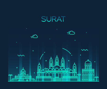 Surat skyline detailed silhouette Trendy vector illustration linear style Illustration