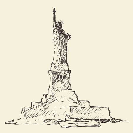 monuments: Statue of Liberty vector vintage engraved illustration hand drawn