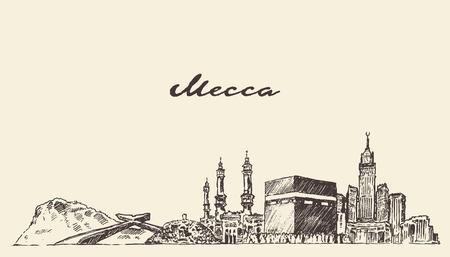 Mecca skyline vector engraved illustration hand drawn 일러스트