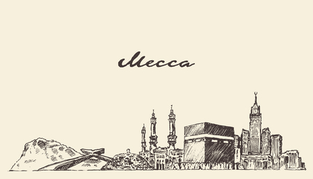 Mecca skyline vector engraved illustration hand drawn Vettoriali