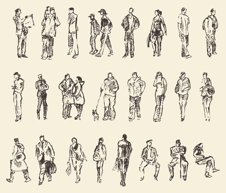Sketch of people vector Illustration hand drawing draw Vectores