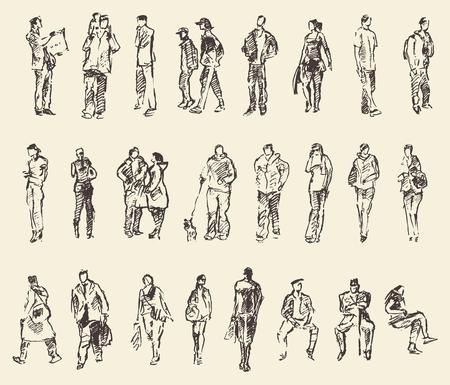 Bosquejo de personas del vector de la ilustración de drenaje de la mano de dibujo