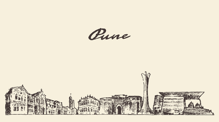 city landscape: Pune skyline vector vintage engraved illustration hand drawn Illustration