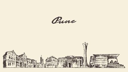 pune: Pune skyline vector vintage engraved illustration hand drawn Illustration