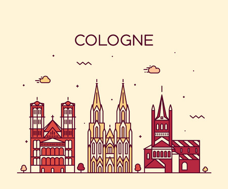 Cologne skyline detailed silhouette Trendy vector illustration linear style Illustration
