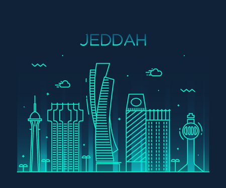 Jeddah skyline detailed silhouette Trendy vector illustration linear style