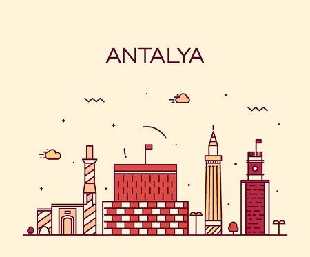 Antalya skyline detailed silhouette Trendy vector illustration linear style