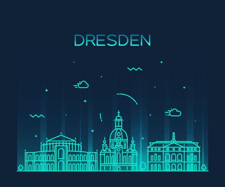 european: Dresden skyline detailed silhouette Trendy vector illustration linear style