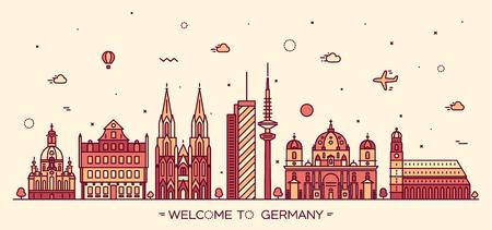 hamburg: German skyline detailed silhouette Berlin Dresden Frankfurt Cologne Hamburg Munich Trendy vector illustration linear style