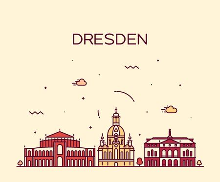 church building: Dresden skyline detailed silhouette Trendy vector illustration linear style