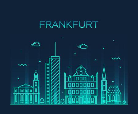 frankfurt: Frankfurt skyline detailed silhouette Trendy vector illustration linear style