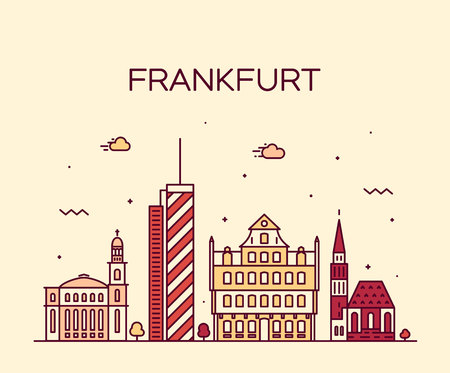 frankfurt: Frankfurt skyline detailed silhouette Trendy vector illustration linear style