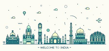 hyderabad: Indian skyline Bangalore Mumbai Ahmedabad Delhi Hyderabad Jaipur landmarks Trendy vector illustration linear style