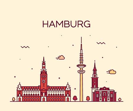 hamburg: Hamburg skyline detailed silhouette Trendy vector illustration linear style