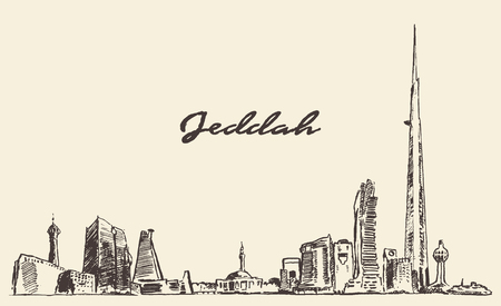 saudi: Concept Jeddah skyline with Kingdom Tower World s Tallest Building vector engraved illustration hand drawn Illustration