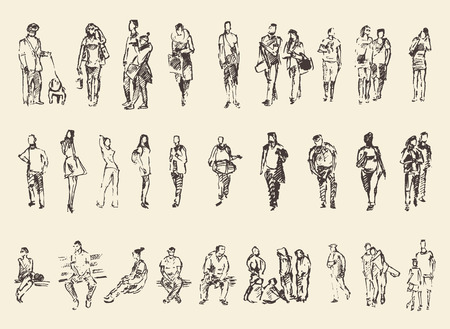 люди: Эскиз людей векторные иллюстрации Рука рисования дро Иллюстрация