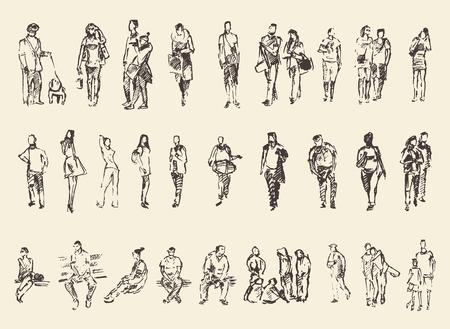 人々: 図面を描く手の人々 ベクトル図のスケッチ