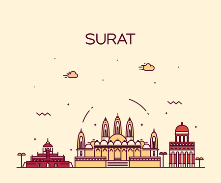 trendy: Surat skyline detailed silhouette Trendy vector illustration linear style Illustration