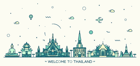 Skyline of Thailand detailed silhouette Trendy vector illustration linear style Ilustração