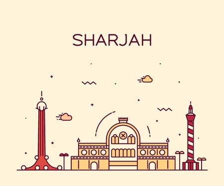 sharjah: Sharjah skyline detailed silhouette Trendy vector illustration linear style