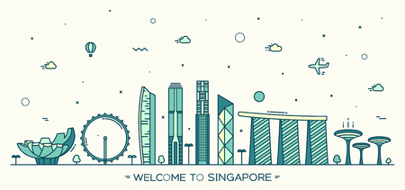 singapore city: Skyline of Singapore detailed silhouette Trendy vector illustration linear style