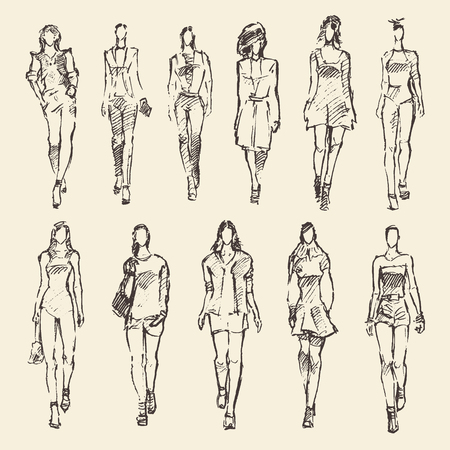beauty girls: Sketch of fashion girls hand drawn vector illustration