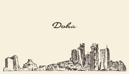 doha: Doha skyline vector engraved illustration hand drawn