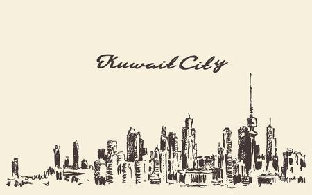 dessiné Koweït vecteur horizon illustration vintage gravé main