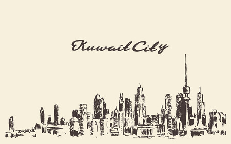 Kuwait skyline vector vintage engraved illustration hand drawn