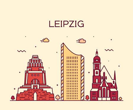 cologne: Leipzig skyline detailed silhouette Trendy vector illustration linear style