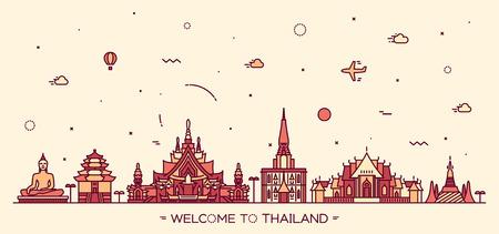 big buddha: Skyline of Thailand detailed silhouette Trendy vector illustration linear style Illustration