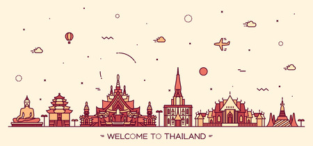 Skyline of Thailand detailed silhouette Trendy vector illustration linear style Illustration
