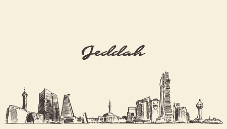 saudi: Sketch of Jeddah skyline vector illustration hand drawn Illustration