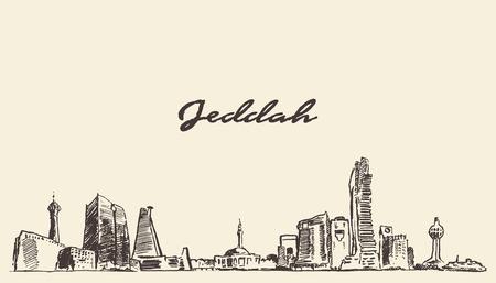 arabia: Sketch of Jeddah skyline vector illustration hand drawn Illustration