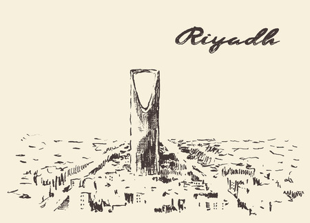 ksa: Sketch of Riyadh skyline vector illustration hand drawn