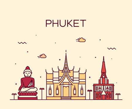 Phuket detailed silhouette Trendy vector illustration linear style