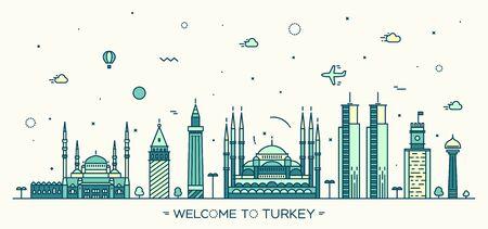 Turkey skyline detailed silhouette Trendy vector illustration linear style