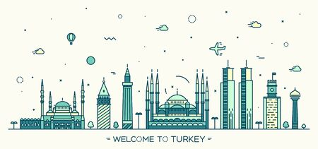 turkey: Turkey skyline detailed silhouette Trendy vector illustration linear style