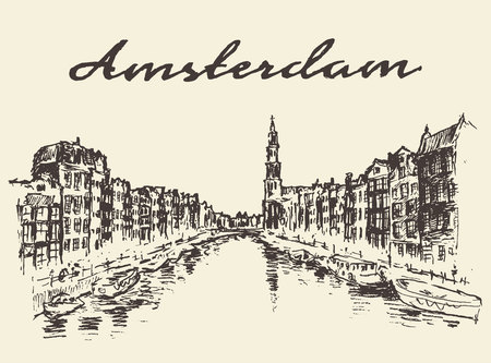 Streets in Amsterdam vector illustration hand drawn sketch