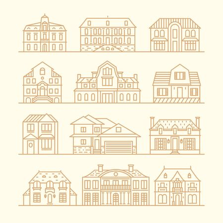 vector set: Big set of houses icons design elements vector illustration trendy linear style