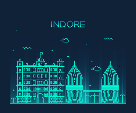 Indore skyline detailed silhouette Trendy vector illustration linear style