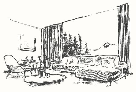 construction projects: Modern interior illustration Cozy room with beautiful view at nature Hand drawn sketch Illustration