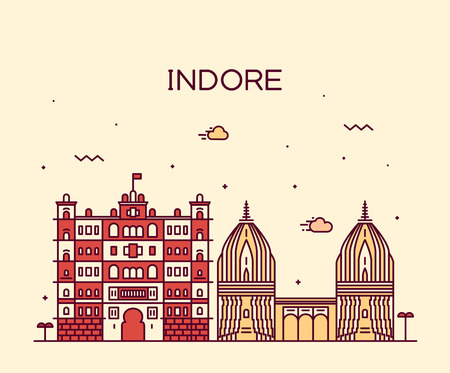 indore: Indore skyline detailed silhouette Trendy vector illustration linear style