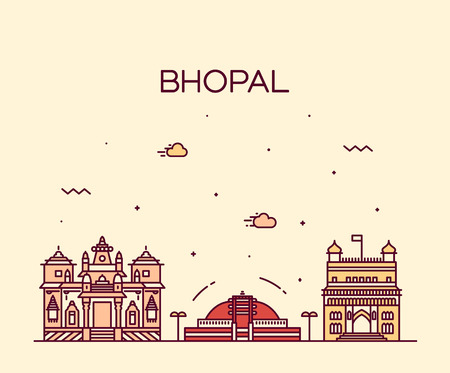 bhopal: Bhopal skyline detailed silhouette Trendy vector illustration linear style
